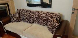 zebra desenli yastıklı koltuk