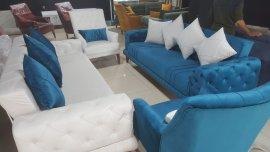 spot mavi koltuk takımı bambu kumaşlı