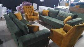 yeşil / sarı son derece şık spot koltuk takımı
