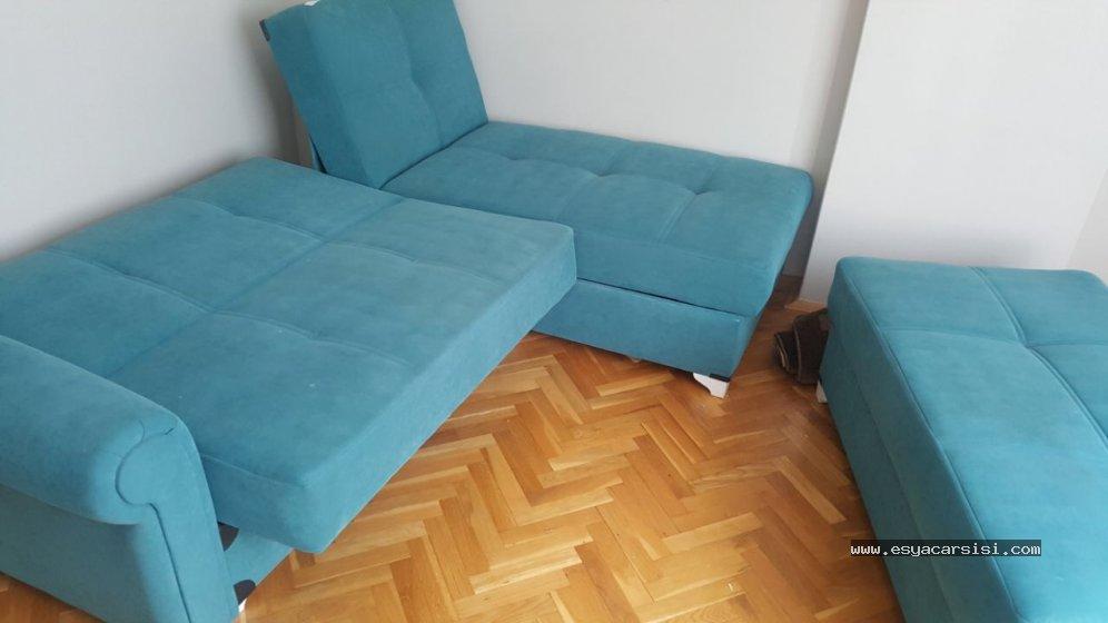2.el gökyüzü mavisi l koltuk ve puf