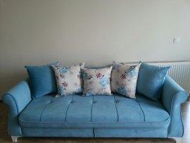 beyaz yastıklı mavi lüks koltuk 3lü