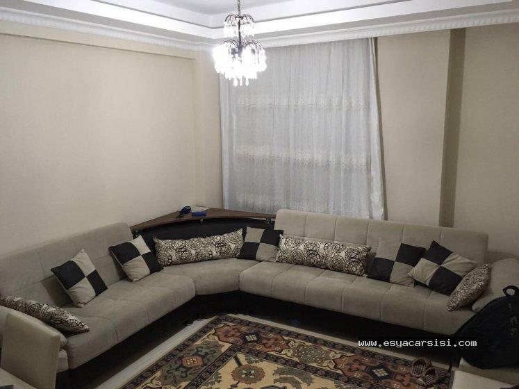 gri köşe koltuk + şık yastıklar