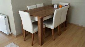 ahşap renk masa 6 sandalyesi