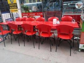 2.el kırmızı yemek masası 12 sandalye