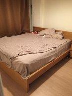 çift kişilik yatak ve baza