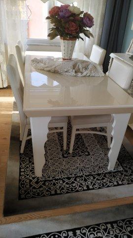 beyaz şık yemek masası 6 sandalyeli